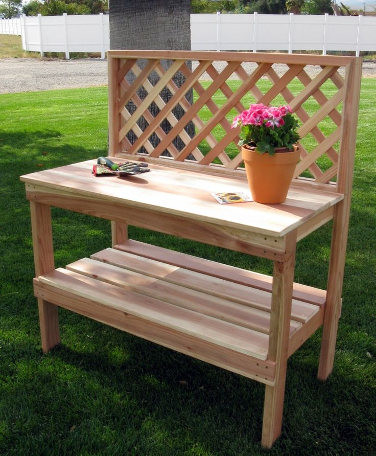 idea for a diy potting bench from an old table and left over lattice
