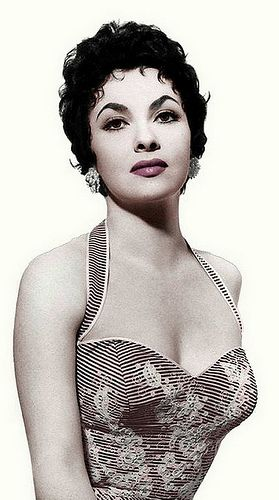 Gina Lollobrigida, an Italian actress, photojournalist, and sculptor. She was one of the most popular European actresses of the 1950s and early 1960s-- and an iconic sex symbol.