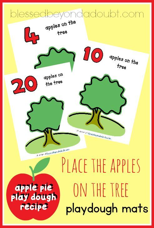 FREE apple playdough mats with apple pie playdough recipe! It smells so good!