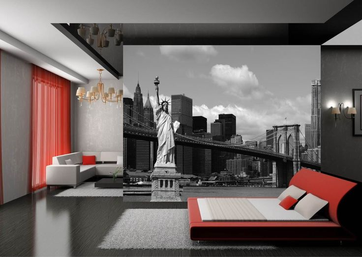 Wall-By-Wall | Vrijheidsbeeld fotobehang. Het standbeeld van de vrijheid! Deze foto op behang is een prachtig detail in jouw woonkamer.