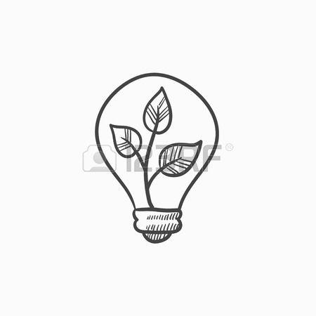 Villanykörte és növény belsejében vektor vázlat ikon elszigetelt háttér. Kézzel rajzolt Izzólámpa és növény belsejében ikonra. Villanykörte és növény belsejében vázlat ikon infographic, weboldal vagy alkalmazás.