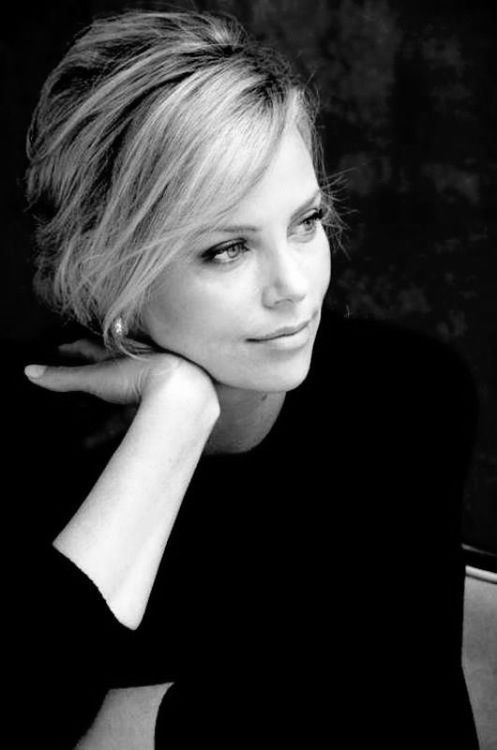 charlize theron, celebrity, actress, lady, black and white