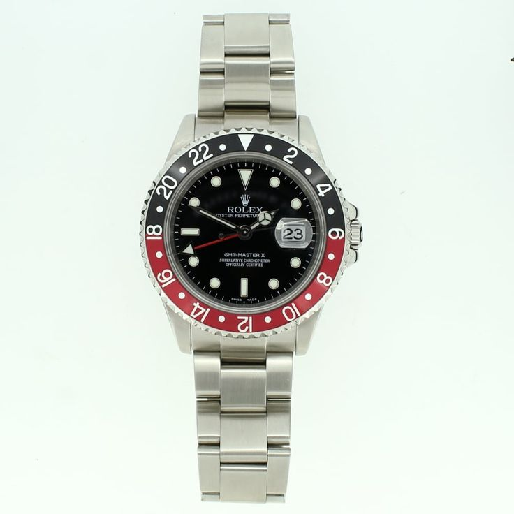 Pre-Owned Rolex GMT Master II Watch, 'Coca-Cola Bezel' This is a first choice for airline pilots and serious travellers, as this has the ability to display different time zones. A stainless steel case and bracelet with a black dial. The black and red bezel is also known as the 'Coca-Cola' due to the colours.  #Rolex #Rolexwatch #GMT #CocaCola #luxury #gentsrolex #watchoftheday