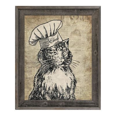 "Click Wall Art 'Chef Cat Brown' Framed Graphic Art Size: 20"" H x 16"" W x 1"" D"