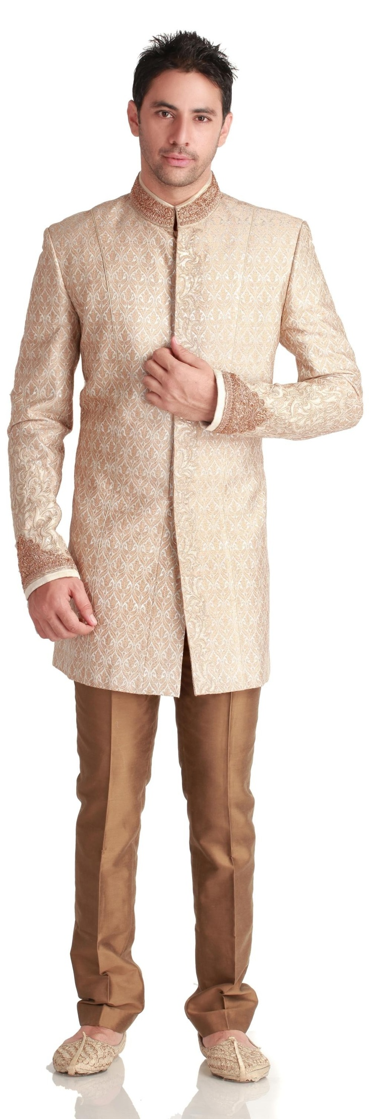 Gold Ivory Rich Wedding Sherwani - #Sherwani - MEN'S WEAR