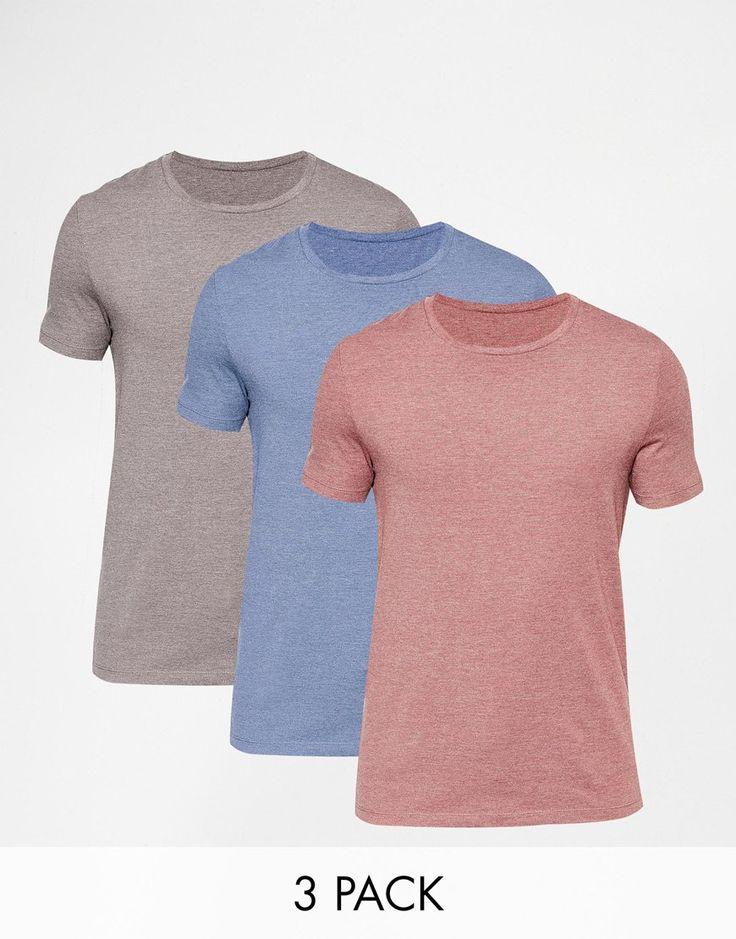 Muskelshirt T-Shirt von ASOS elastischer Jersey Rundhalsausschnitt eng geschnittene Ärmel sitzt eng am Körper enge Passform Maschinenwäsche 47% Baumwolle, 47% Polyester, 6% Elastan Model trägt Größe M und ist 188 cm/6 Fuß 2 Zoll groß Dreierset