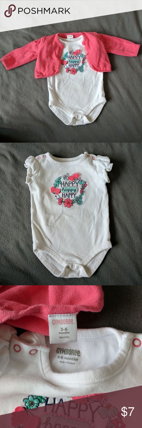 Happy Happy Onesie with Matching Sweater Great condition Gymboree onesie with sweater. Cute for spring! Gymboree Matching Sets