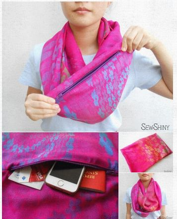 Rainbow Purple Travel Infinity Scarf with Hidden Pocket Travel with comfort and convenience! The infinity travel scarf loops twice around your neck, keeping you snuggly and warm for a cold day out. Equipped with a hidden pocket, you can now keep your handphone, cash, keys, passport etc close to you while travelling with ease. Like us at www.facebook.com/sewshiny Follow us at www.instagram.com/sewshiny