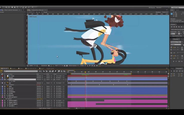 Watch & learn how to create a 2D Animation of a Hispter Bike Rider with Latham Arnott on After Effect. https://vimeo.com/104673514 Hipster Bike Rider H