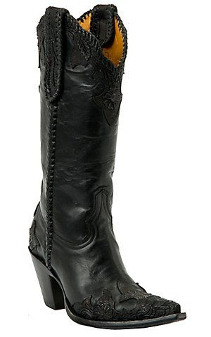 Old Gringo® Ladies Julian Black w/ Tooled Wingtip Pointed Toe Western Boots | Cavender's Boot City