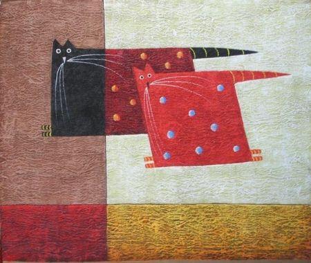 Mačky, hranaté, červené, čierne, moderné, dekoratívny obraz, obraz do bytu, obraz do interiéru.