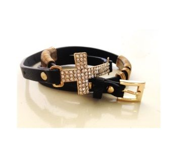 Eva's favourite piece in the collection!  Perfectly teamed black strap with brass nickel free embellishment.  Eye catching encrusted diamanté crucifix   This is the piece that will finish your outfit for any occasion!