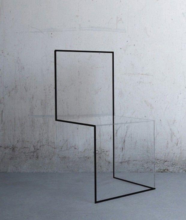 Effet trompe-l'oeil Transparence (polycarbonate transparent) Lignes graphiques (métal noir) Côté irréel et mystérieux Ref Sol Lewitt