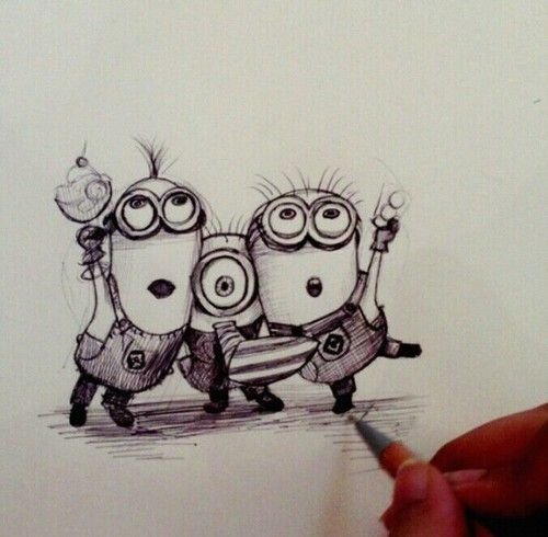 Step by step drawing tutorial of Minion – DrawingManuals ...  Easy Minion Pencil Drawings