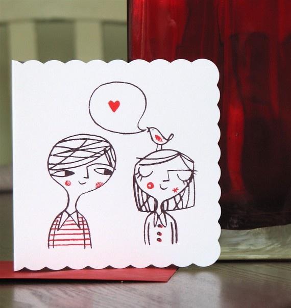Love bird hand screen printed card by lisastubbs