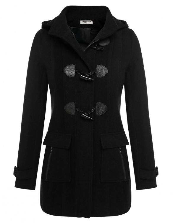 trench manteau caban noir style officier à capuche