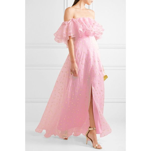 Temperley London Off-the-shoulder fil coupé silk-blend organza gown ($1,930) ❤ liked on Polyvore featuring dresses, gowns, off shoulder ball gown, polka dot dresses, off shoulder evening dress, metallic evening gowns and off shoulder evening gown