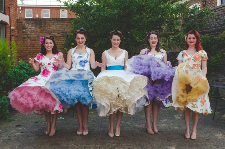 Bridesmaids Bride Petticoats Vintage Dresses 1950s Superhero Diner Wedding http://www.cherryredphotography.co.uk/