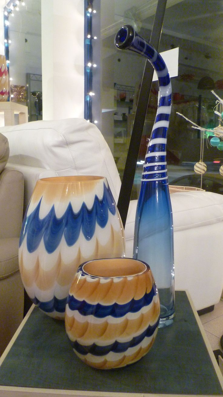 #Vasi colorati #blu e #giallo in #vetro di #Murano di #Nason  solo da #Everyonestock #madeinitaly
