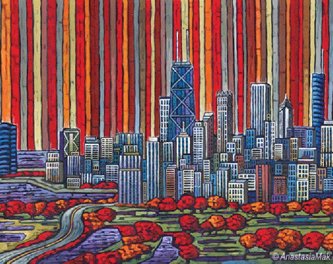 Chicago Autumn, Chicago Skyline, Red Chicago, 8x10 Art Print by Anastasia Mak