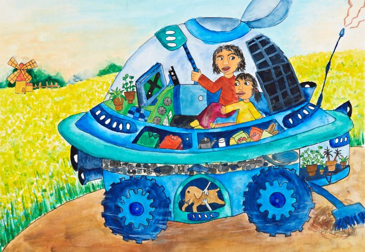 'Eco Car for Recreation and a Moving House' by Wan-Hsiu Chiang, Aged 11, Taiwan: 1st Contest, Silver #KidsArt #ToyotaDreamCar