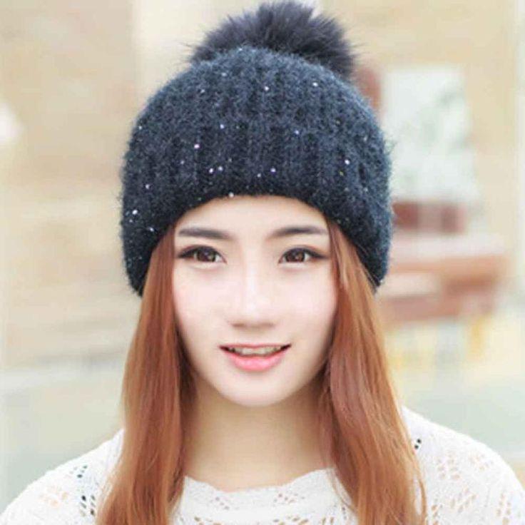 Gorros De Lana Mujer Hats For Women Fashion Keep Warm Winter Hats Knitted Wool Hemming Pompom Hat Winter Cap Bonnet Femme #Affiliate