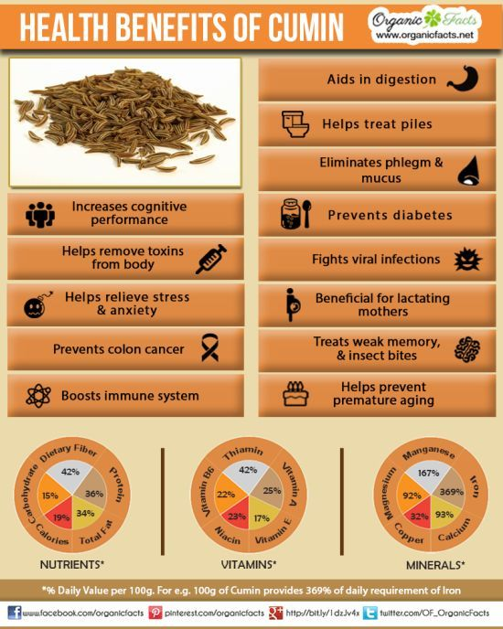 Health Benefits of Cumin | Organic Facts- The health benefits of cumin include its ability to aid in digestion, improve immunity and treat piles, insomnia, respiratory disorders, asthma, bronchitis, common cold, lactation, anemia, skin disorders, boils and cancer.