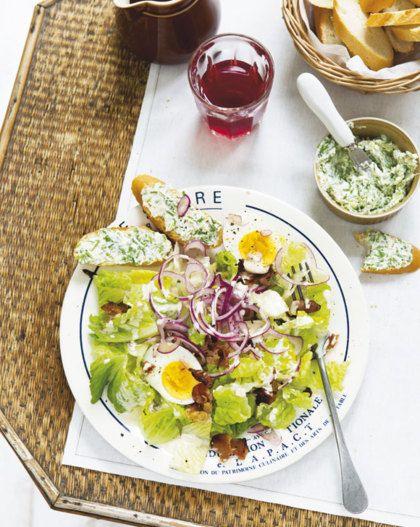 Recept voor Caesarsalade met stokbrood en kruidenkaas