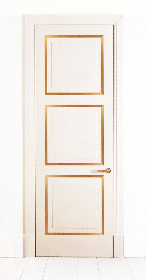 White and gold frame door. (Not a how-to link, but you could do the same thing with painter's tape and metallic Krylon paint pens from the hardward store - or there are probably lots of other ways to do this.)