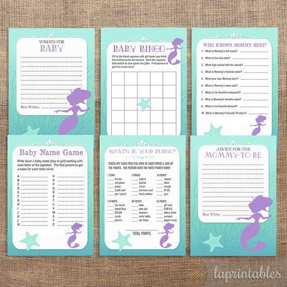 Mermaid Baby Shower Games Package, Six Baby Girl Shower Games, Bundle, DIY  Printable, INSTANT DOWNLOAD