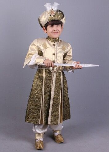 Osmanlı tuğra krem yeşil şehzade sünnet kıyafeti