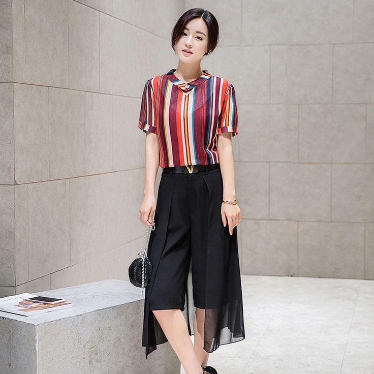 Путаница кодекс 2016 лето новый Корейский дамы с короткими рукавами полосатый шифон рубашку из двух частей широкие брюки ноги досуг костюм женский -tmall.com Lynx