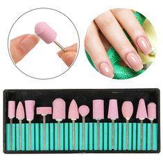 Clavo de cerámica Brocas de las cabezas del radar de molienda de manicura pedicura 12pcs rosa pulido Machine Tool