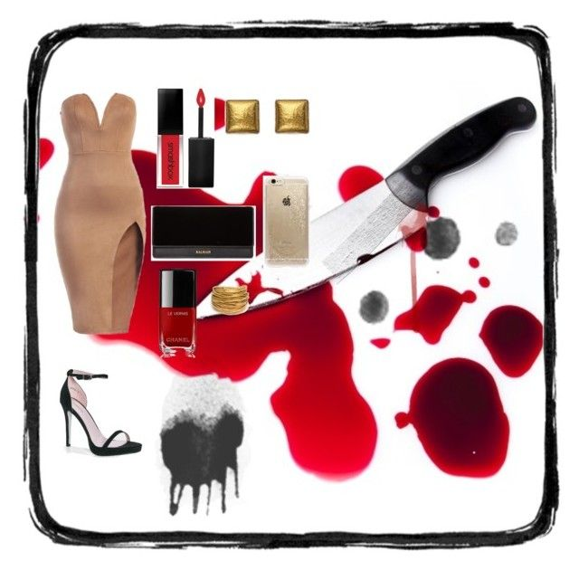 """""""deadly"""" by christinentais on Polyvore featuring Boohoo, Balmain, Chanel, Smashbox, Gurhan, Black & Sigi and Rifle Paper Co"""
