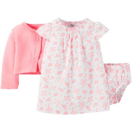 Child of Mine made by Carter's Newborn Baby Girls' Dress, Panty and Sweater Outfit Set 3 Pieces, Pink