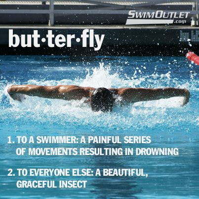 Butterfly - a painful series of movements resulting in drowning #swimhumor #SwimOutlet