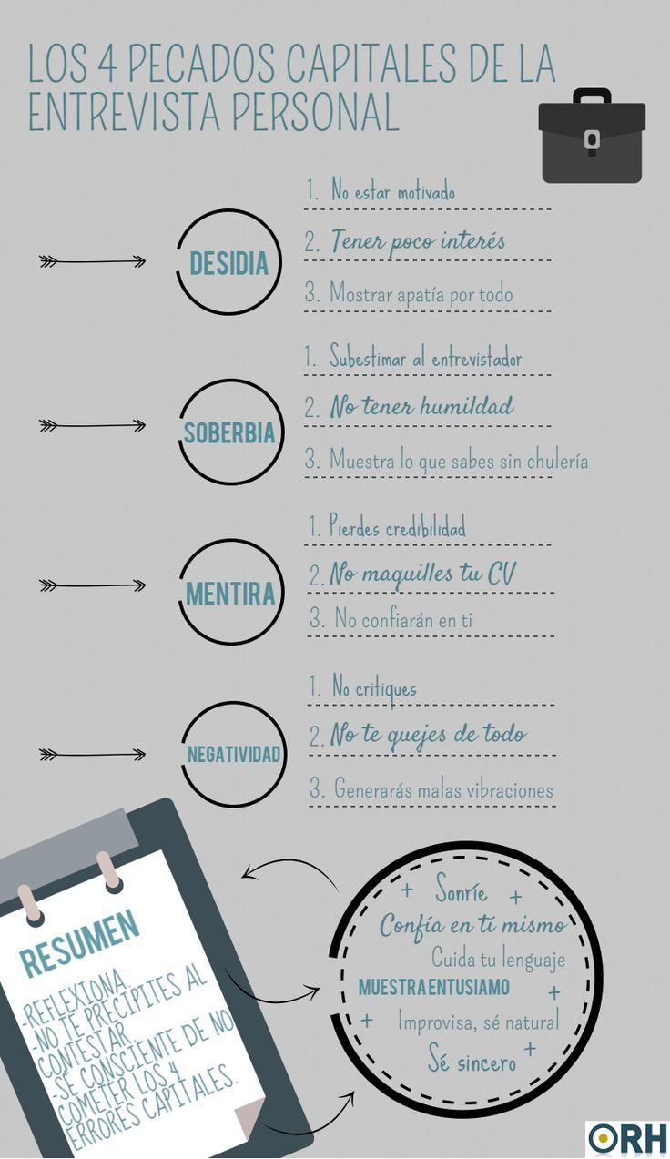4 pecados capitales en una Entrevista de Trabajo #infografia #infographic #empleo