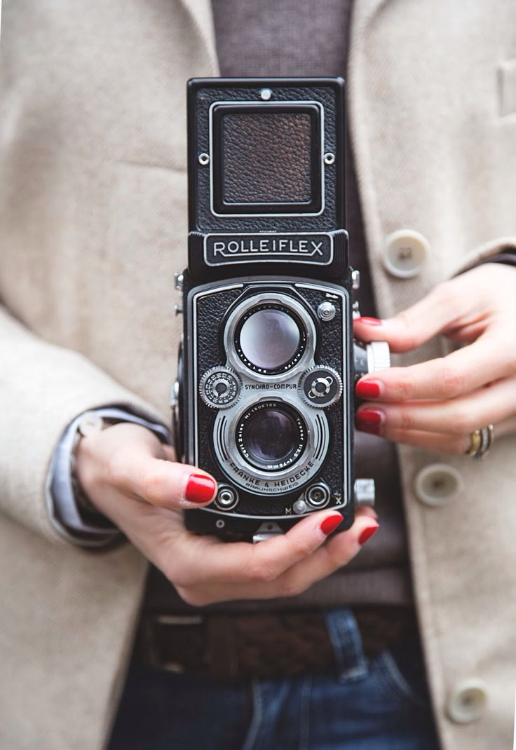 Woman with Rolleiflex photo camera (old, vintage, retro, antique, photo, camera, photography, female, photographer)