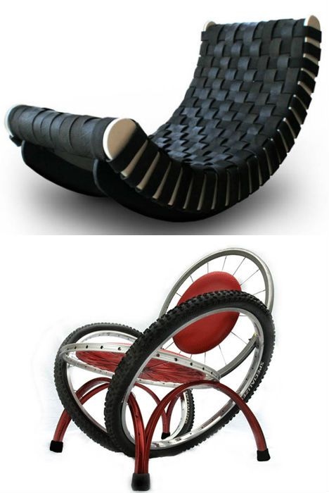 Furniture made from reclaimed tires and bicycle wheels ranges from elegant and modern to funny and kitschy.