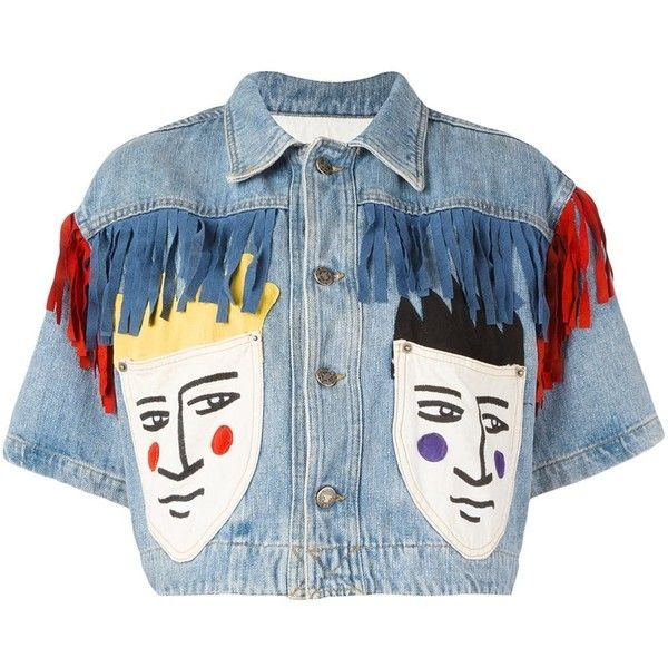 Pre-owned Jc De Castelbajac Vintage cropped denim jacket (€625) ❤ liked on Polyvore featuring outerwear, jackets, blue, vintage jackets, short sleeve jean jacket, blue jackets, fringe jackets and vintage jean jacket