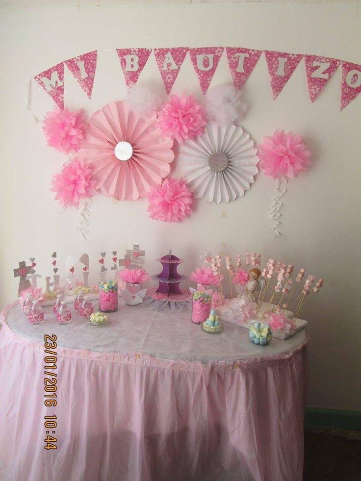 ideas para mesa de dulce...bautizo de niña