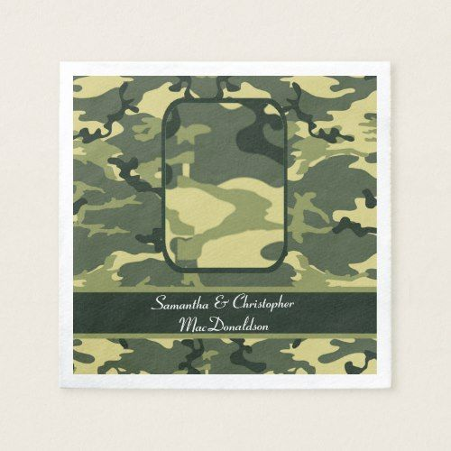 Green military or hunting camouflage wedding paper napkin