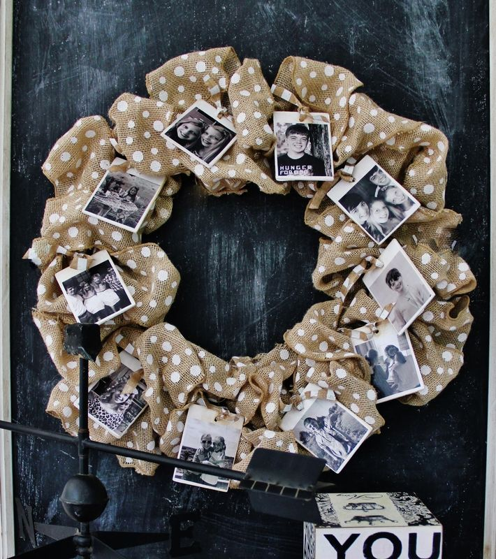 Looking for an easy diy burlap project? Display your photos with this burlap photo wreath.