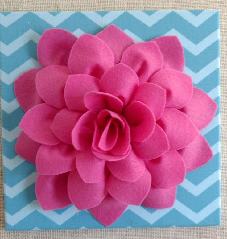 3D Felt Flower Canvas Art Custom Felt Flower Canvas Art Felt Art Girls Canvas Decor Blue Chevron Wall Art by TheBrickCottage on Etsy