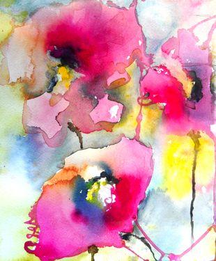 "Pink Poppies V - Saatchi Online Artist Karin Johannesson; Painting, ""Pink Poppies V"" #art"