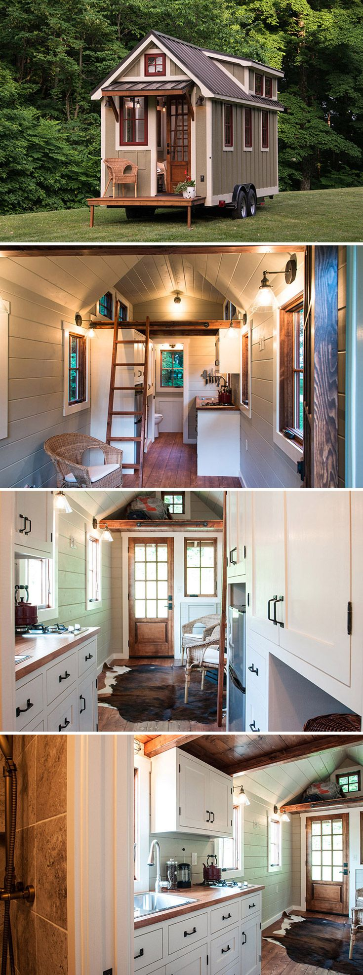 a 150 sqft tiny house on wheels with upper cabinets and a large