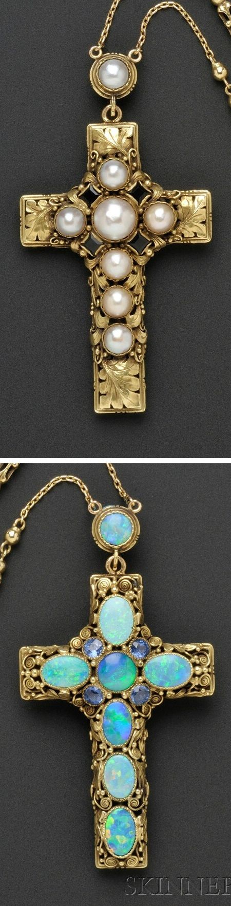 """Edward Oakes - An Arts and Crafts gold, opal, and pearl cross and chain, American, circa 1930. Unmarked. Accompanied by a letter of authentication from Susan Oakes Peabody, in which she states, """"I have had the pleasure of viewing many of Grandfather's crosses and own one. This is by far the most beautiful I have seen."""" #Oakes #ArtsAndCrafts"""