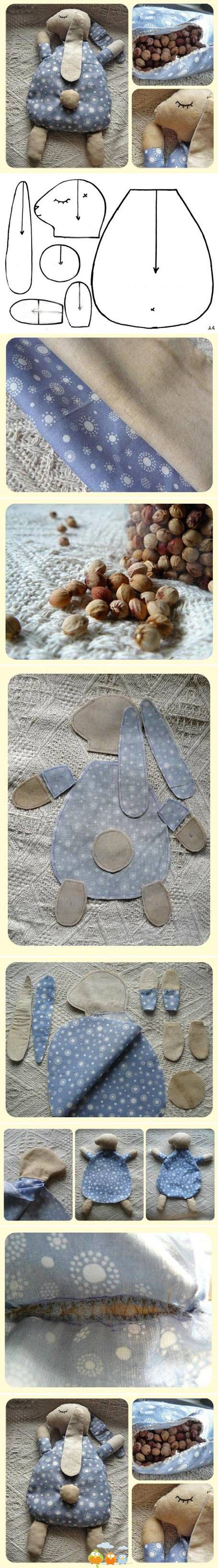 inspiring little sleeping rabbit bean bag or wheat bag plushie pattern