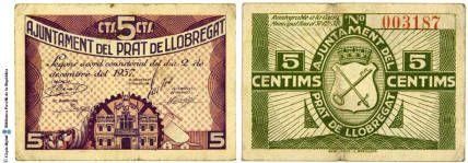 Prat de Llobregat - 5 cts. : Ajuntament del Prat de Llobregat : 5 cts. : segons acord consistorial del dia 2 de desembre de 1937 :: Paper moneda del Pavelló de la República (Universitat de Barcelona)