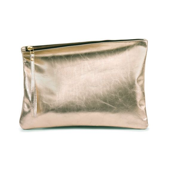 GOLD Leather clutch evening clutch by Leah Lerner by LeahLerner
